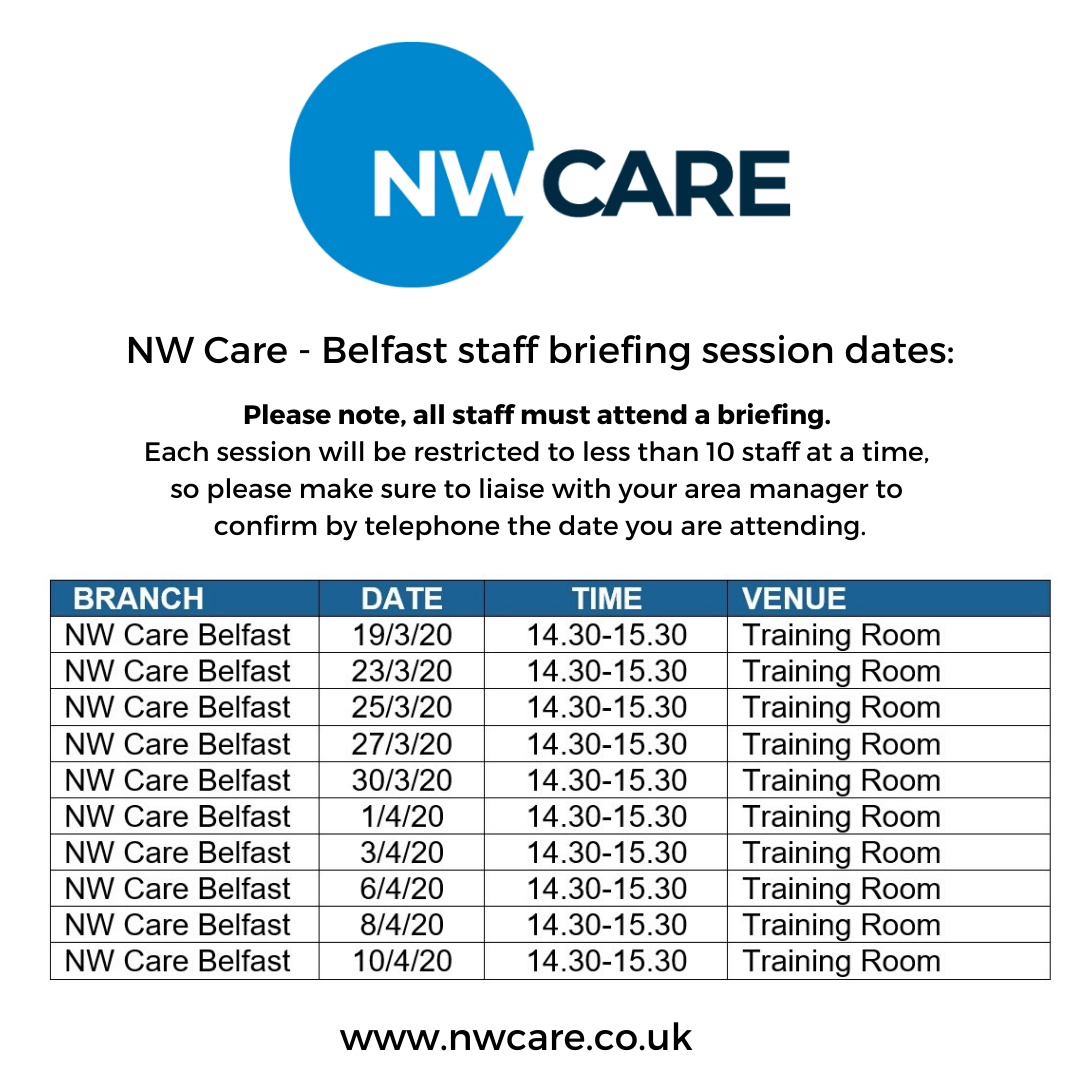 NW Care Staff Briefings - Belfast